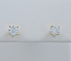 Diamond-Yellow-Gold-Earrings-Studs-Estate