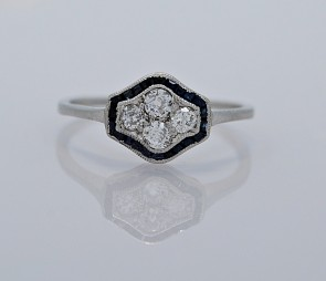 Sapphire-Platinum-Diamond-Ring-Art-Deco