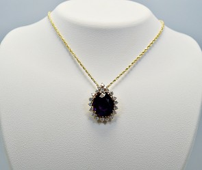 Yellow Gold 7.00ct. Amethyst & Diamond Pendant/Necklace