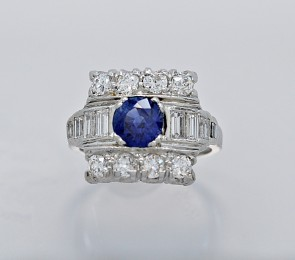 Sapphire-Diamond-Platinum-Art-Deco-Ring