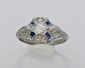 Diamond-Sapphire-Art-Deco-18K-White-Gold-Ring