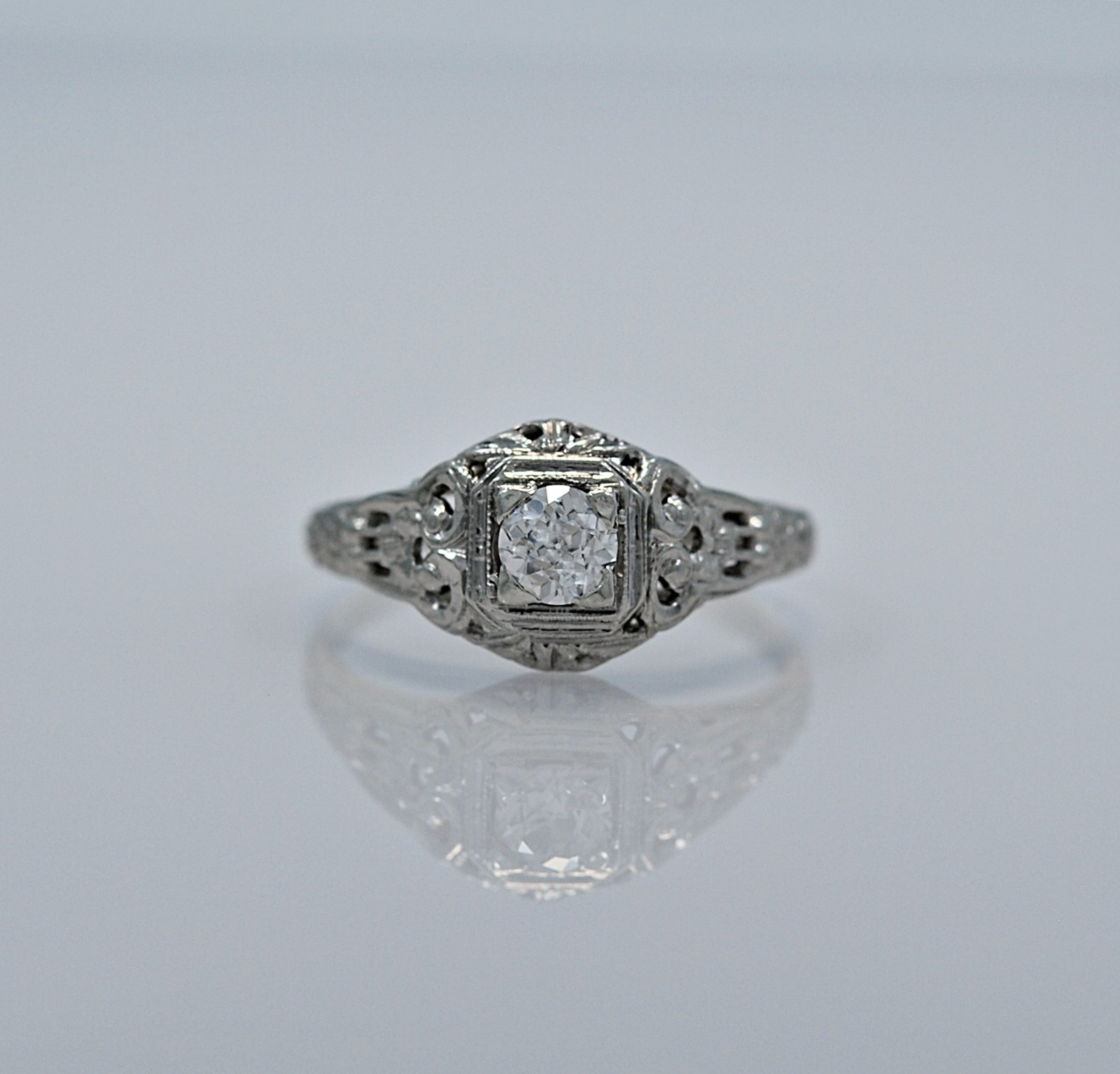 18k white gold 35ct deco engagement ring