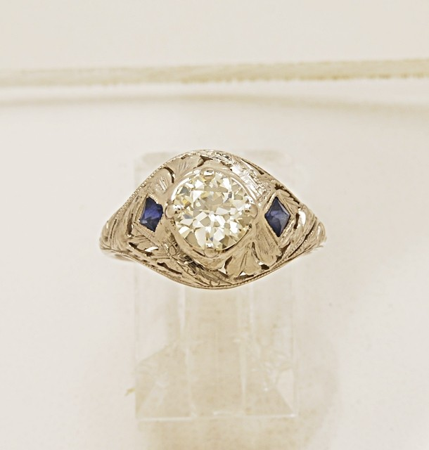 Diamond-Sapphire-18K-White-Gold-Art-Deco-Engagement-Ring