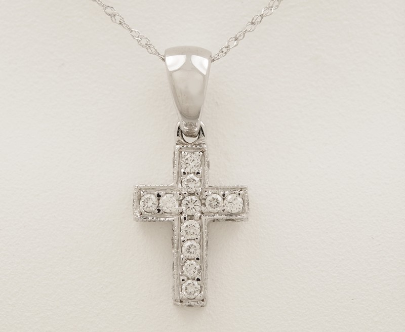 .40ct. T.W. Diamond & 18K White Gold Estate Cross Necklace