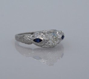 Diamond-Art-Deco-Ring-Engagement-Sapphire-18K-White-Gold