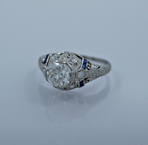 95ct-art-deco-diamond-sapphire-engagement-ring