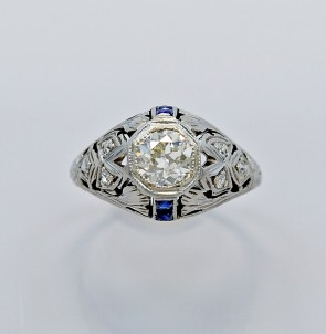 Ring-Art-Deco-Diamond-Sapphire-18K-White Gold