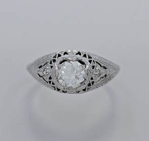 Diamond-18K-White-Gold-Art-Deco-Ring