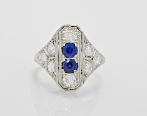 Platinum Art Deco 1.05ct. Diamond & Sapphire Fashion Ring