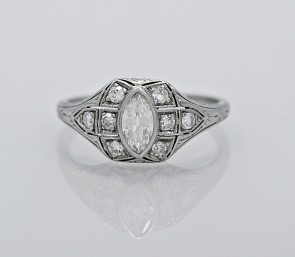 Marquis-Diamond-Platinum-Ring-Art Deco