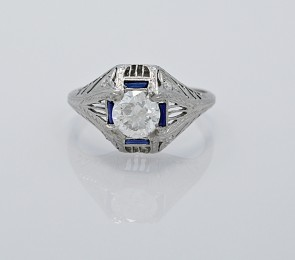 Ring- Sappphire-Platinum-Diamond-Art-Deco-Engagement