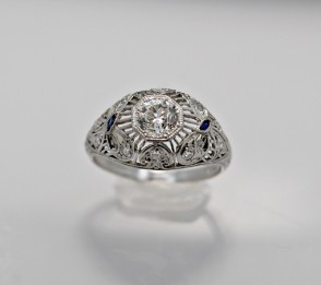 Ring-Diamond-Sapphire-Engagement-Art-Deco
