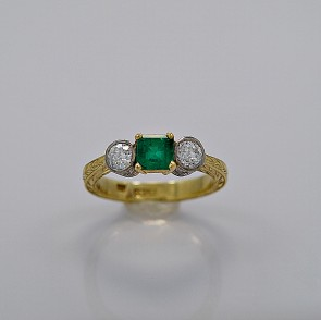 estate-diamond-emerald-75-gold-engagement-ring