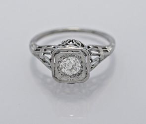 Ring-18K-White-Gold-Diamond-Art-Deco-Engagment