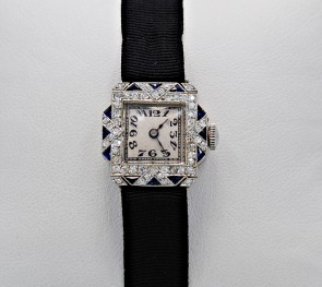 Platinum-Art-Deco-Diamond-Sapphire-Dress-Watch