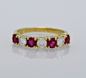 Ruby-Diamond-Band-18K-Yellow-Gold-Estate