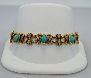 art-deco-egyptian-revival-persian-gold-bracelet-turquoise
