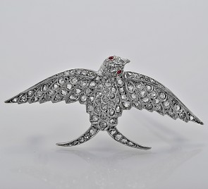 edwardian-style-diamond-ruby-18K-white-gold-125ct-brooch