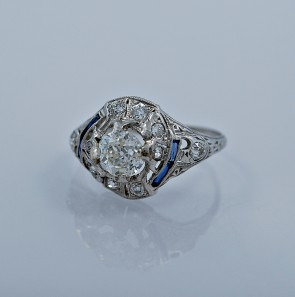 82-ct-diamond-sapphire-platinum-art-deco-engagement-ring