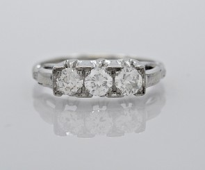 14K-White-Gold-Art-Deco-Diamond-3-Stone-Ring