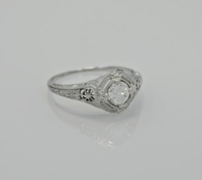 18K-White-Gold-Art-Deco-Diamond-European-Engagement-Ring