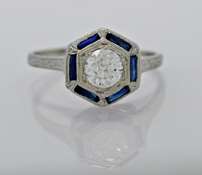 Platinum-Sapphire-Diamond-Engagement-Ring-Art-Deco