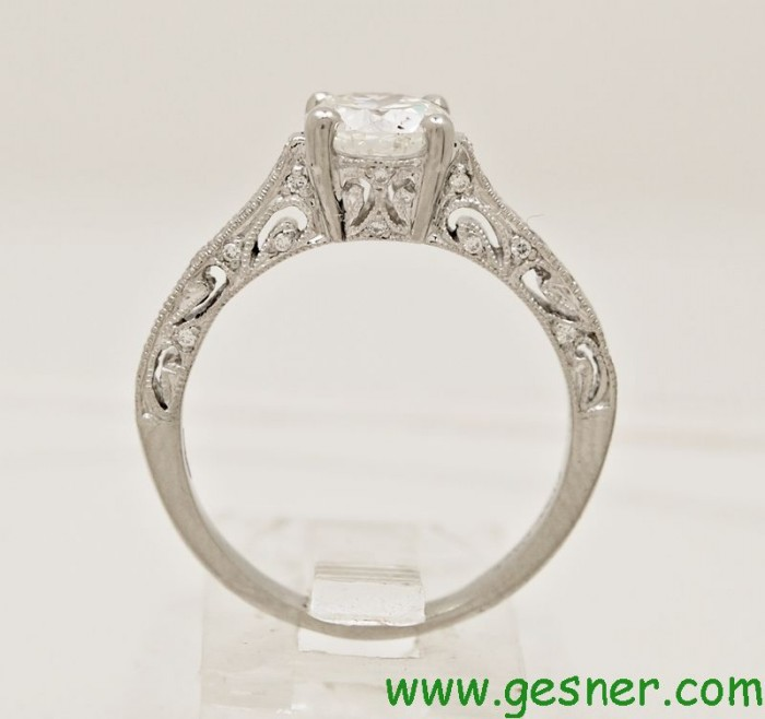 93ct platinum antique style estate engagement