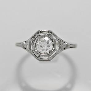 Diamond-18K-White-Gold-Ring-Art-Deco-Ring